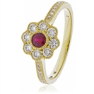 Image for 0.75CT Red Ruby & Diamond Halo Ring