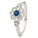 Image for 0.60CT Blue Sapphire & Diamond Halo Ring
