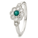0.60CT Green Emerald & Diamond Halo Ring