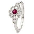 0.60CT Red Ruby & Diamond Halo Ring