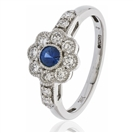 Image for 0.70CT Blue Sapphire & Diamond Halo Ring