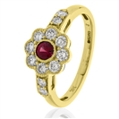 Image for 0.70CT Red Ruby & Diamond Halo Ring