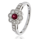 0.70CT Red Ruby & Diamond Halo Ring