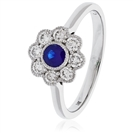 Image for 0.65CT Blue Sapphire & Diamond Halo Ring