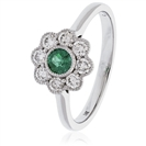 Image for 0.65CT Green Emerald & Diamond Halo Ring