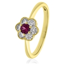 Image for 0.60CT Red Ruby & Diamond Halo Ring