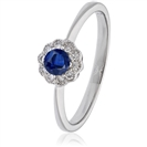 Image for 0.30CT Blue Sapphire & Diamond Halo Ring