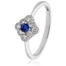 Image for 0.40CT Blue Sapphire & Diamond Halo Ring