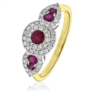 Image for 0.90CT Red Ruby & Diamond Cocktail Ring