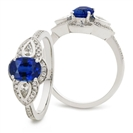 Image for 0.90CT Blue Sapphire & Diamond Cocktail Ring