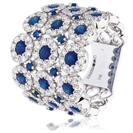 Image for 3.50CT Blue Sapphire & Diamond Cocktail Ring