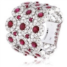 3.50CT Red Ruby & Diamond Cocktail Ring