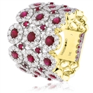 Image for 3.50CT Red Ruby & Diamond Cocktail Ring