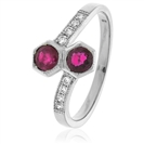 Image for 0.85CT Red Ruby & Diamond Cocktail Ring