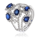 Image for 2.20CT Blue Sapphire & Diamond Cocktail Ring