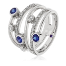 0.70CT Blue Sapphire & Diamond Dress Ring