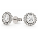 Image for 1.00ct Unique Round Diamond Single Halo Earrings