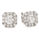 Image for 0.90ct Unique Cushion Diamond Single Halo Earrings