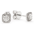 Image for 0.75ct Unique Round Diamond Single Halo Earrings