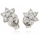 Image for 3.00CT Flower Shaped Round Diamond Cluster Earrings