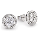 1.35ct Classic Round Diamond Cluster Earrings