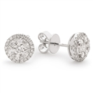 1.30CT Classic Round Diamond Cluster Earrings