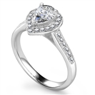 Image for Pear Diamond Single Halo Shoulder Set Ring