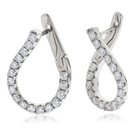 1.00CT Elegant Round Diamond Hoop Earrings