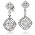 3.80CT Modern Round Diamond Drop Earrings