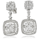 3.70CT Modern Round Diamond Drop Earrings