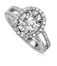 Oval Diamond Single Halo Shoulder Set Diamond Ring