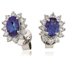 Image for 2.50CT Blue Sapphire & Diamond Cluster Earrings
