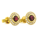 1.35CT Round Ruby & Diamond Cluster Earrings
