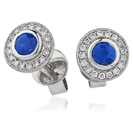 1.35CT Round Blue Sapphire & Diamond Cluster Earrings