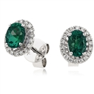 Image for 1.00CT Oval Shaped Emerald & Diamond Halo Earrings
