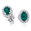 Image for 1.30CT Oval Shaped Emerald & Diamond Halo Earrings