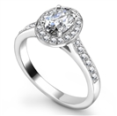 Image for Oval Diamond Single Halo Shoulder Set Ring