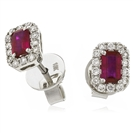 Image for 1.50CT Emerald Ruby & Diamond Cluster Earrings