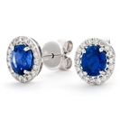Image for 1.70CT Blue Sapphire & Diamond Cluster Earrings