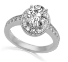 Image for Oval & Round Diamond Halo Shoulder Set Ring