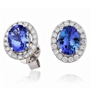 Image for 3.00CT Oval Blue Tanzanite & Diamond Cluster Earrings