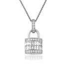 Image for 1.10CT Cluster Round Diamond Designer Padlock Pendant