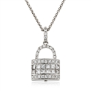 Image for 0.60CT Cluster Round Diamond Designer Padlock Pendant