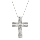 Image for 1.25CT Classic Round/Baguette Diamond Cross Pendant