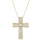 Image for 2.30CT Classic Round/Baguette Diamond Cross Pendant