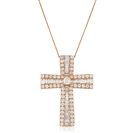 Image for 3.00CT Classic Round/Baguette Diamond Cross Pendant