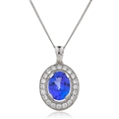 Image for 1.30CT Oval Shaped Blue Tanzanite & Diamond Pendant
