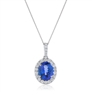 Image for 2.00CT Oval Shaped Blue Tanzanite & Diamond Pendant