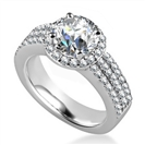 Unique Three Row Round Diamond Halo Ring