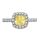 Fancy Yellow Cushion Diamond Shoulder Set Ring